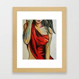 Pensive Red dress Framed Art Print