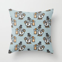 Dodo with beer Throw Pillow