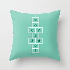 Hopscotch Mint Throw Pillow