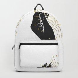 Mystic 94 Minimalist Magical Black Hands Moon Stars Astrological Signs Bohemian Boho Style Backpack