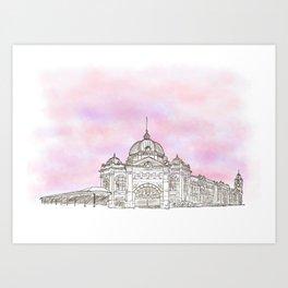 Sketching Flinders Street railway station Melbourne Australia Art Print
