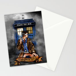 10th Doctor With Blue phone Box Stationery Cards