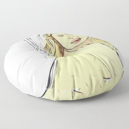 Sexy lady nude bed orgasm face Floor Pillow