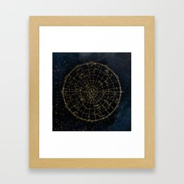 Golden Star Map Framed Art Print