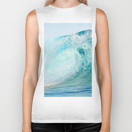 Pacific big surfing wave breaking Biker Tank