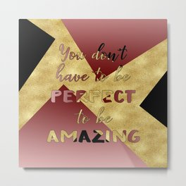 Elegant gold black pink geometry Metal Print