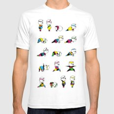 Yoga Bear - 80's Remix White SMALL Mens Fitted Tee