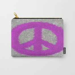 Fuchsia Splat Painted Peace Sign Carry-All Pouch
