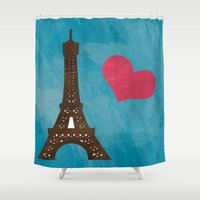 eiffel Shower Curtains featuring Eiffel by Daniela Marti