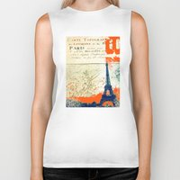 paris map Biker Tanks featuring Paris by Kimball Gray
