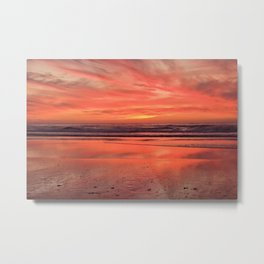 Sky on  Fire - At the Beach Metal Print