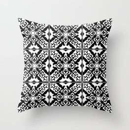 Moroccan Tile Pattern in Black and White Throw Pillow