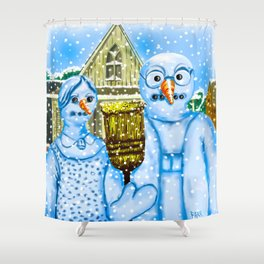 American Gothic Snowpeople Shower Curtain