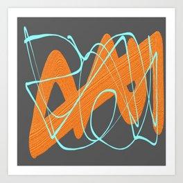Grey orange and blue Art Print