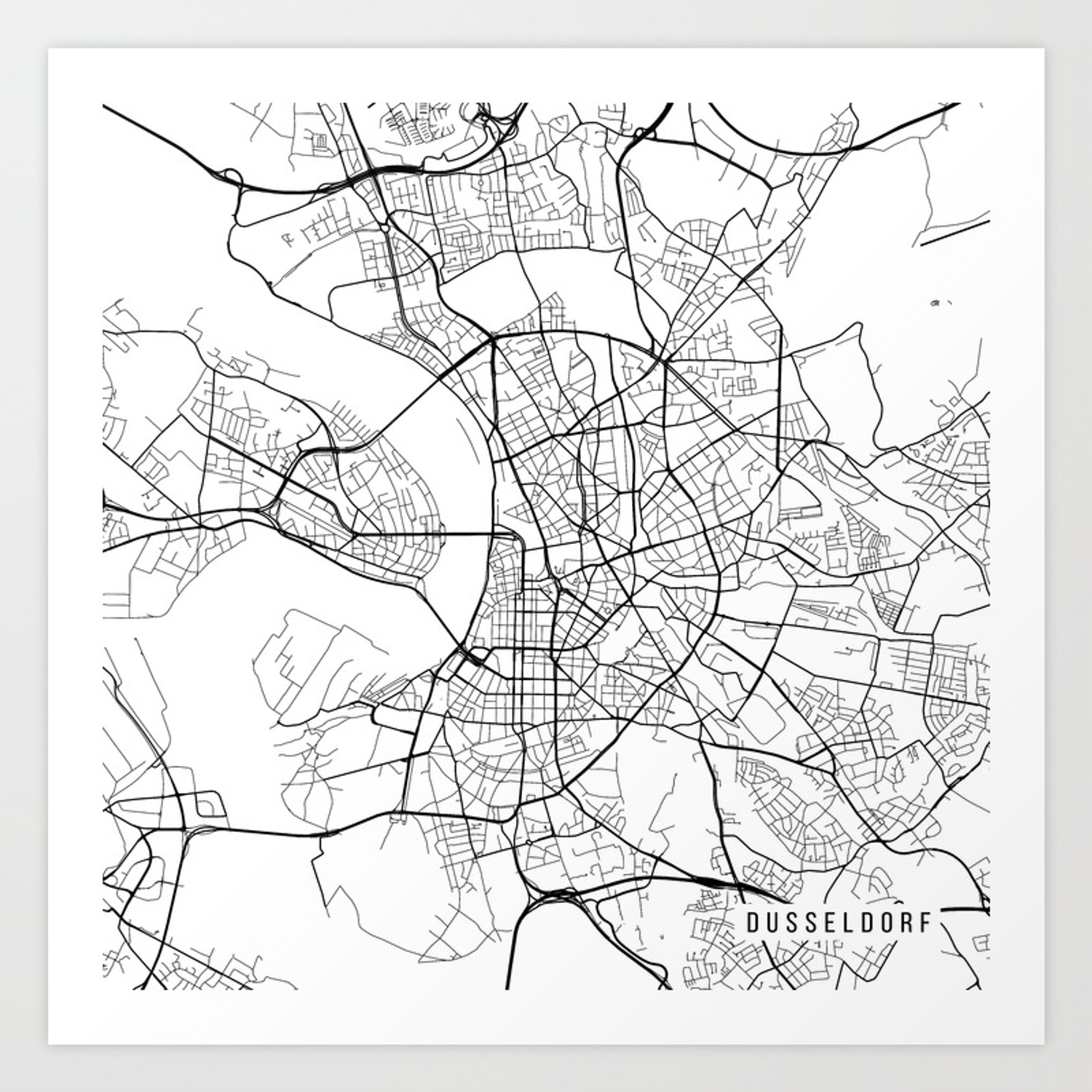 Dusseldorf Map, Germany - Black and White Art Print on prague czech republic on map, hannover germany map, mayence germany map, dresden germany map, blankenheim germany map, erfurt germany map, bremen germany map, geilenkirchen germany map, rome germany map, donaueschingen germany map, belfast germany map, cologne germany map, berlin germany map, split germany map, duisburg map, saxony germany map, krefeld germany map, stuttgart germany map, bonn germany map, hamburg germany map,