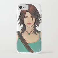 lara croft iPhone & iPod Cases featuring Rise of Lara Croft by TholiaArt