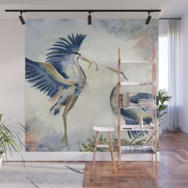 Great Blue Heron Couple Wall Mural