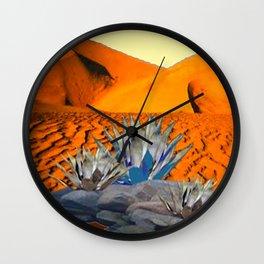 BLUE AGAVE DESERT LANDSCAPE CACTUS ART Wall Clock