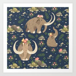 Cute mammoths Art Print