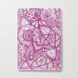 Pink Zentangle Metal Print