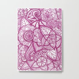 Pink Zentangle Metal Print