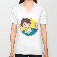 haikyuu V-neck T-shirts featuring Oikawa Tooru - Haikyuu!! - circle peace sign by anywayimnikki
