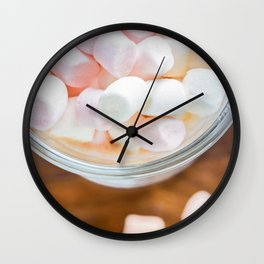 Top view to the  marshmallows in hot chocolate Wall Clock