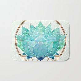 Modern Blue Succulent with Metallic Accents Bath Mat