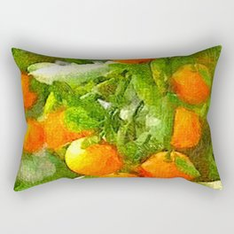 TROPICAL ORANGE TREE PAINTING Rectangular Pillow