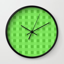 Lime Green Retro Squares Wall Clock