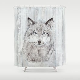 """Watercolor Painting of Picture """"Wolf"""" Shower Curtain"""