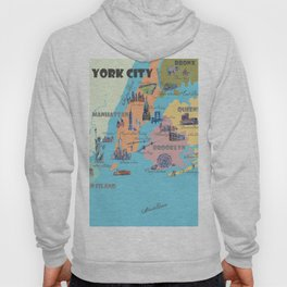 New York City Fine Art Print Retro Vintage Favorite Map with Touristic Highlights Hoody