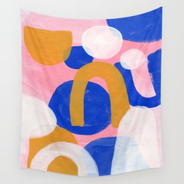 Ejaaz Haniff Colorful Abstract Acrylic Painting Pastel Fun Pastel Colors 'Pink Promenade' Wall Tapestry