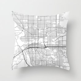 Spokane Map, USA - Black and White Throw Pillow