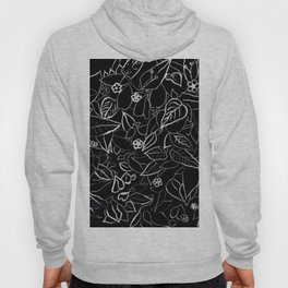 White ink, black card board. Graphic art, ink spring flowers Hoody