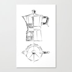 Coffee pot blueprint sketch  Canvas Print