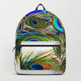 AWESOME BLUE-GREEN PEACOCK FEATHERS ART Backpack