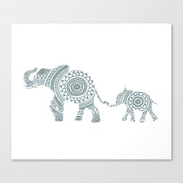 Mama Elephant Walking Baby Elephant Circle Art Canvas Print