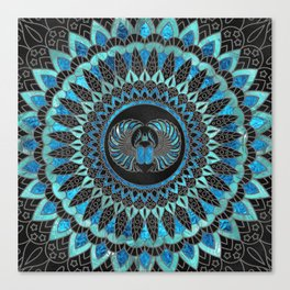 Egyptian Scarab Beetle - Gold and Blue glass Canvas Print