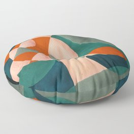 The Sunset & The Mountains Retro Abstract Art - Teal & Burnt Sienna Floor Pillow