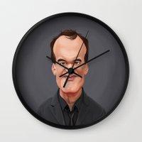 quentin tarantino Wall Clocks featuring Celebrity Sunday ~ Quentin Tarantino by rob art | illustration