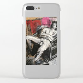Lounging mixed media figure study Clear iPhone Case