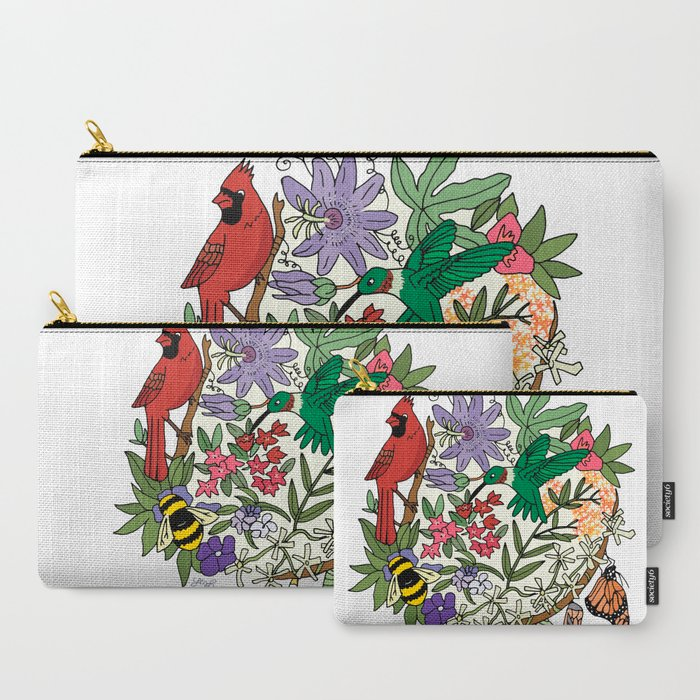 Pollinators_Garden_CarryAll_Pouch_by_LeahCMYK__Set_of_3