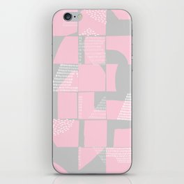 Blush and Gray Typographical Fragments Cheater Quilt iPhone Skin