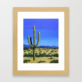Cactus In the West by Mike Kraus - home decor cactus cacti interiors desert mountains blue yellow Framed Art Print
