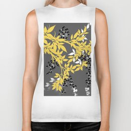 TREE BRANCHES YELLOW GRAY  AND BLACK LEAVES AND BERRIES Biker Tank