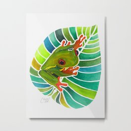 Frog On A Leaf Metal Print