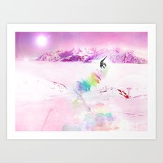 Snowboard & Mountain Art Print