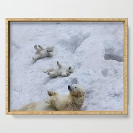 Polar bear mom with twins. Serving Tray
