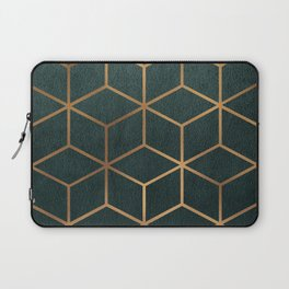 Dark Teal and Gold - Geometric Textured Gradient Cube Design Laptop Sleeve